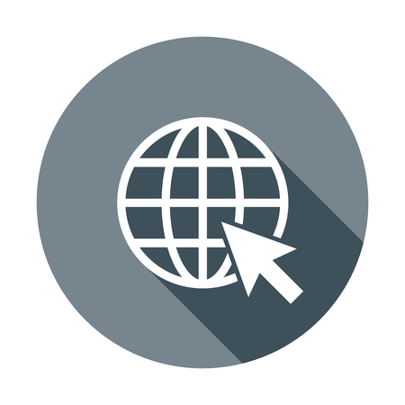 website wide window world write www: Go to web icon. Internet flat vector illustration for website on round background with shadow. Illustration