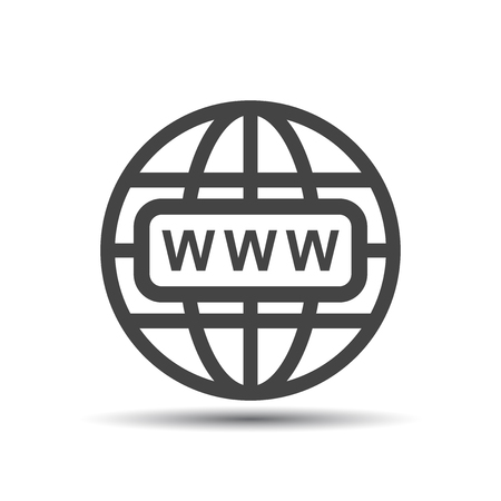 website wide window world write www: Go to web icon. Internet flat vector illustration for website on white background with shadow. Illustration