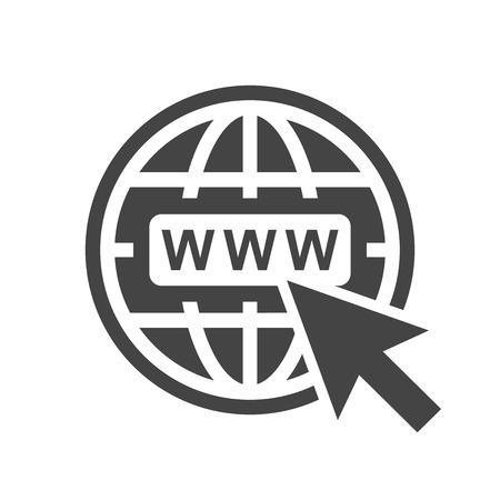 Web アイコンに移動します。白い背景のウェブサイトのためのインターネット フラット ベクトル イラスト。