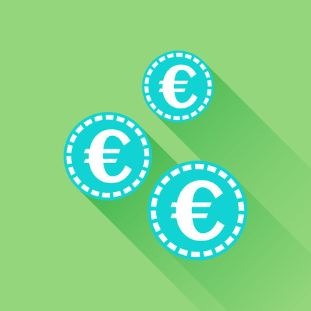 dime: Euro coins icon. Vector illustration in flat style. Blue coin on green background with long shadow.