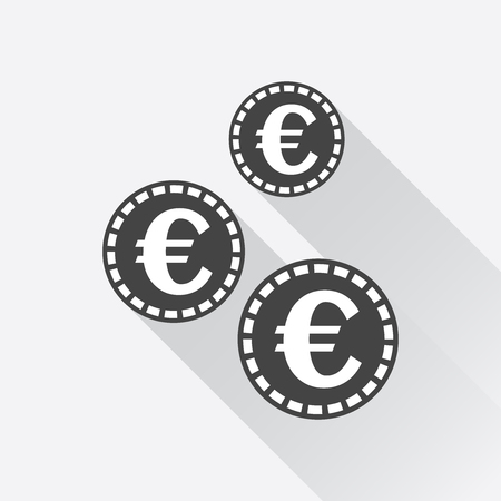 euro coins: Euro coins icon. Vector illustration in flat style. Black coin on white background with long shadow. Illustration