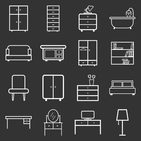 Furniture icons set. Flat vector illustration on black background. Universal icon for web design. Illustration
