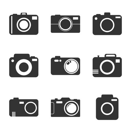 Camera icon set on white background. Vector illustration in flat style with photography icons. 向量圖像