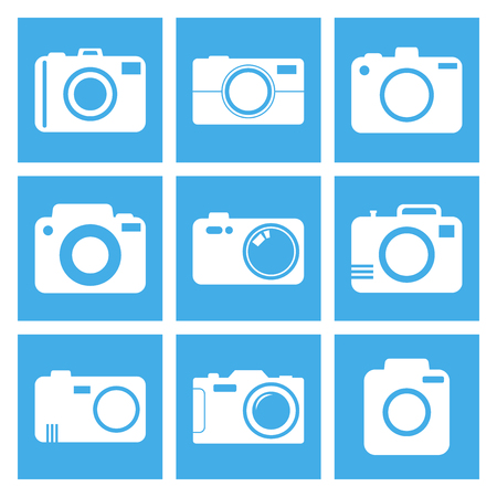 photography icons: Camera icon set on blue background. Vector illustration in flat style with photography icons. Illustration