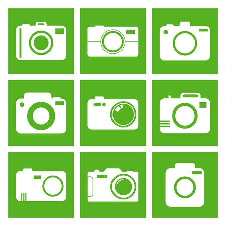 photography icons: Camera icon set on green background. Vector illustration in flat style with photography icons.