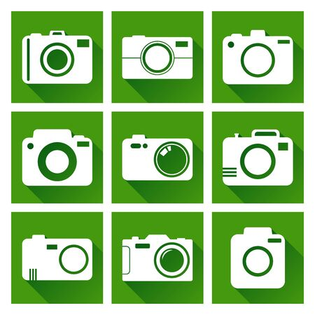 Camera icon set on green background with long shadow. Vector illustration in flat style with photography icons.
