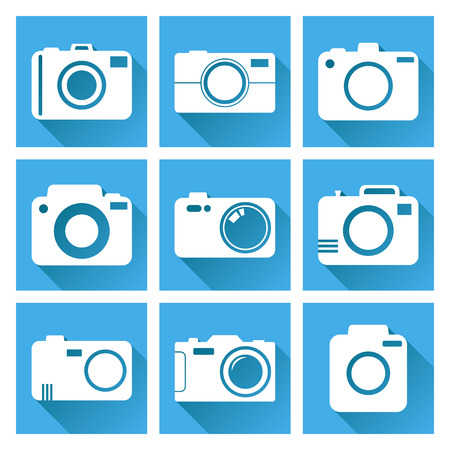 photography icons: Camera icon set on blue background with long shadow. Vector illustration in flat style with photography icons.