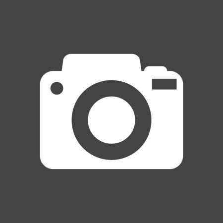 Camera icon on black background. Flat vector illustration. Illustration