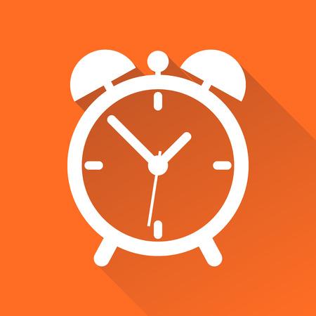 Clock icon, flat design. Vector illustration with long shadow on orange background. 向量圖像