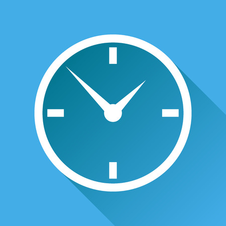 Clock icon, flat design. Vector illustration with long shadow on blue background.