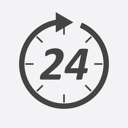 Tijdpictogram. Platte vectorillustratie 24 uur op witte achtergrond. Stock Illustratie