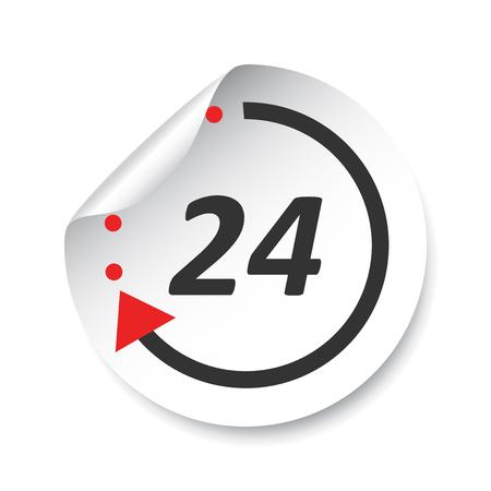 24 Hours sticker label. Vector illustration.