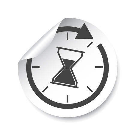 sand watch: Hourglass sticker label. Time vector illustration. Illustration