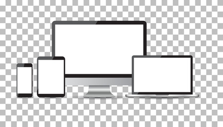 Realistic device flat Icons: smartphone, tablet, laptop and desktop computer. Vector illustration