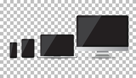 laptop screen: Realistic device flat Icons: smartphone, tablet, laptop and desktop computer. Vector illustration