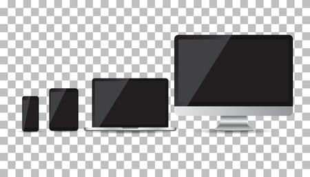 Realistische Gerät flach Icons: Smartphone, Tablet, Laptop und Desktop-Computer. Vektor-Illustration