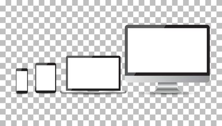 Realistische apparaat flat Icons: smartphone, tablet, laptop en desktop computer. vector illustratie Stock Illustratie