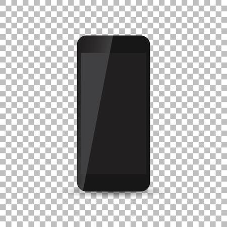 palmtop: Black realistic smartphone icon on isolated background. Modern simple flat telephone. Vector illustration. Illustration