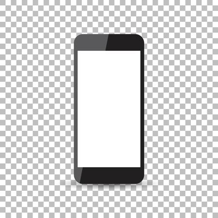 smartphone icon: Black realistic smartphone icon with isolated blank screen. Modern simple flat telephone. Vector illustration.