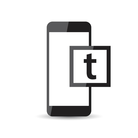 touchpad: Black realistic smartphone icon with isolated blank screen. Modern simple flat telephone. Vector illustration social network sign.