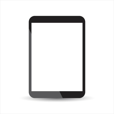 Tablet with white screen flat icon. Computer vector illustration on white background.