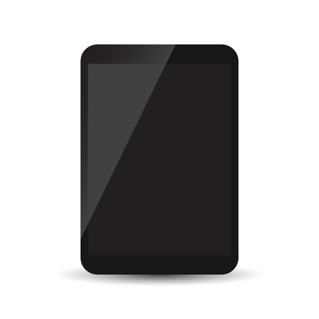 Tablet with black screen flat icon. Computer vector illustration on white background.