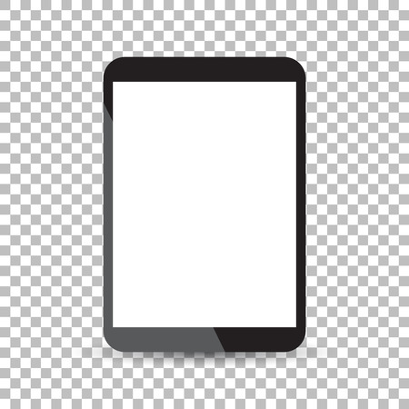 Tablet with white screen flat icon. Computer vector illustration on isolated background.