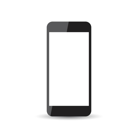 palmtop: Black realistic smartphone icon with isolated blank screen. Modern simple flat telephone. Vector illustration.