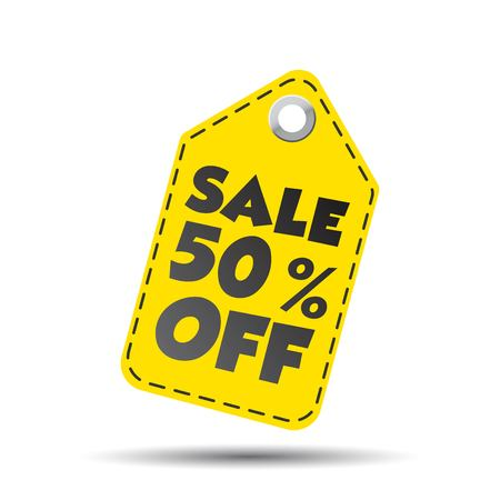 50  off: Sale 50% off hang tag. Vector illustration