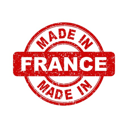Made in France red stamp. Vector illustration on white background