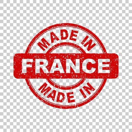 Made in France red stamp. Vector illustration on isolated background