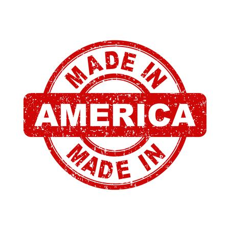 Made in America red stamp. Vector illustration on white background