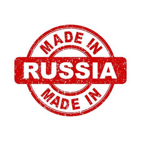 Fabriqué en Russie timbre rouge. Vector illustration sur fond blanc Vecteurs