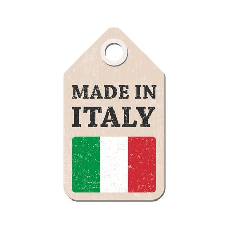 import trade: Hang tag made in Italy with flag. Vector illustration