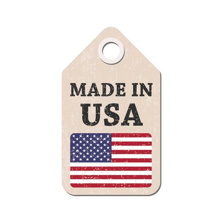 hang tag: Hang tag made in USA with flag. Vector illustration