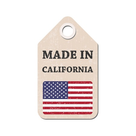 hang tag: Hang tag made in California with flag. Vector illustration Illustration