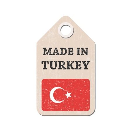 hang tag: Hang tag made in Turkey with flag. Vector illustration