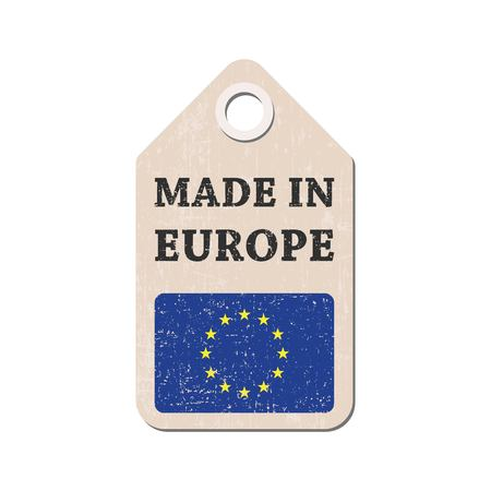 Hang tag made in Europe with flag. Vector illustration Illustration