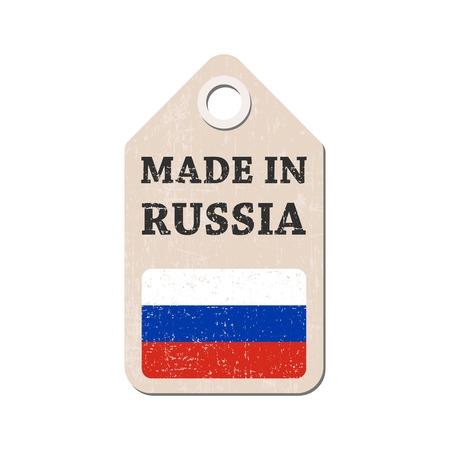 made russia: Hang tag made in Russia with flag. Vector illustration Illustration