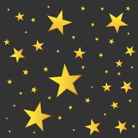golden star: Abstract falling star vector. Illustration with golden christmas stars on black background