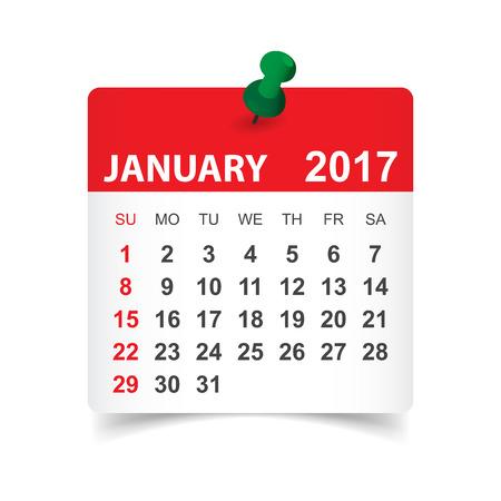 Enero de 2017. ilustración vectorial Calendario