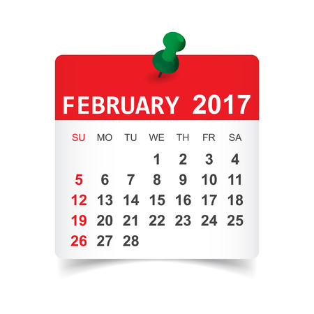 Febbraio 2017. Illustrazione vettoriale calendario Vettoriali