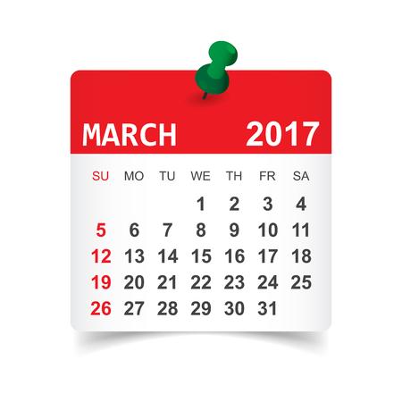 March 2017. Calendar vector illustration