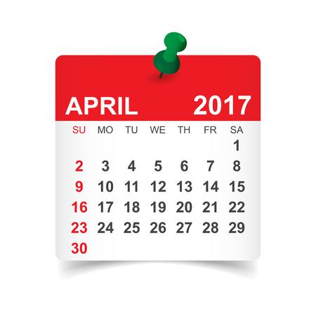 April 2017. Calendar vector illustration 矢量图像