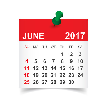 June 2017. Calendar vector illustration