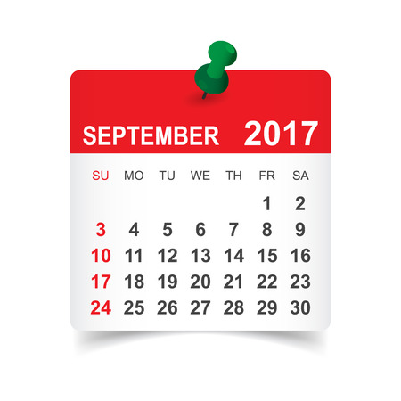 September 2017. Calendar vector illustration