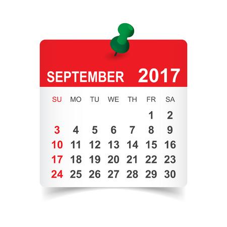 Września 2017 kalendarza ilustracji wektorowych
