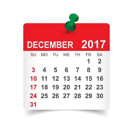 December 2017. Kalender vectorillustratie Stock Illustratie