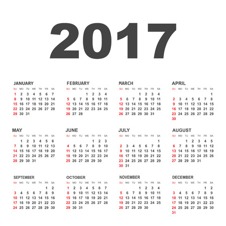 personal data assistant: Simple calendar 2017 in horizontal style. Flat vector illustration on white background. Illustration