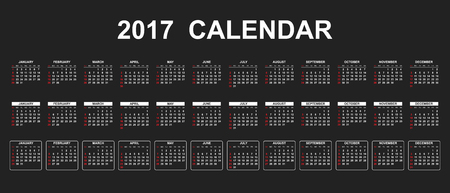 Simple calendar 2017 in line style. Flat vector illustration on black background.
